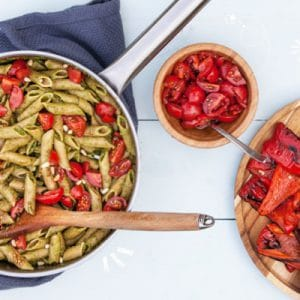 Super Quick Pesto Pasta with Roasted Veggies and Balsamic Tomatoes