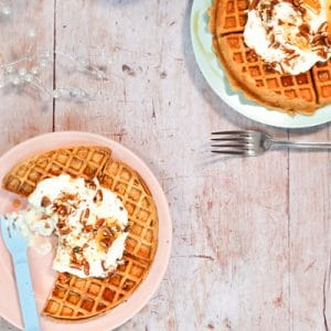 Sweet Potato Spiced Waffles with Crushed Pecans