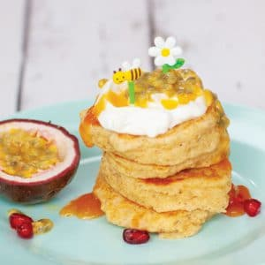 Passion Fruit Yogurt and Oat Pancakes