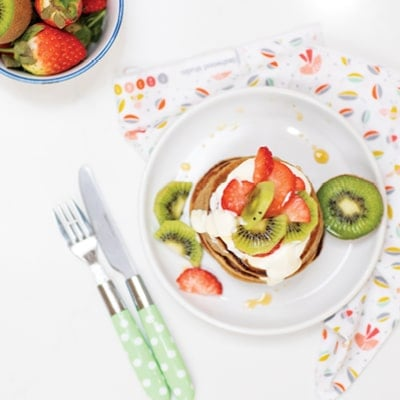 Strawberry, Kiwi, Oat, & Banana Pancakes