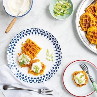 Baby Led Weaning Carrot and Cheese Waffles