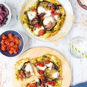 Quick Pizza Dough with Pesto and Roasted Veggies
