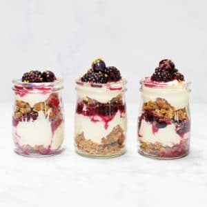 Blueberry and Blackberry Healthy Cheesecake Jars