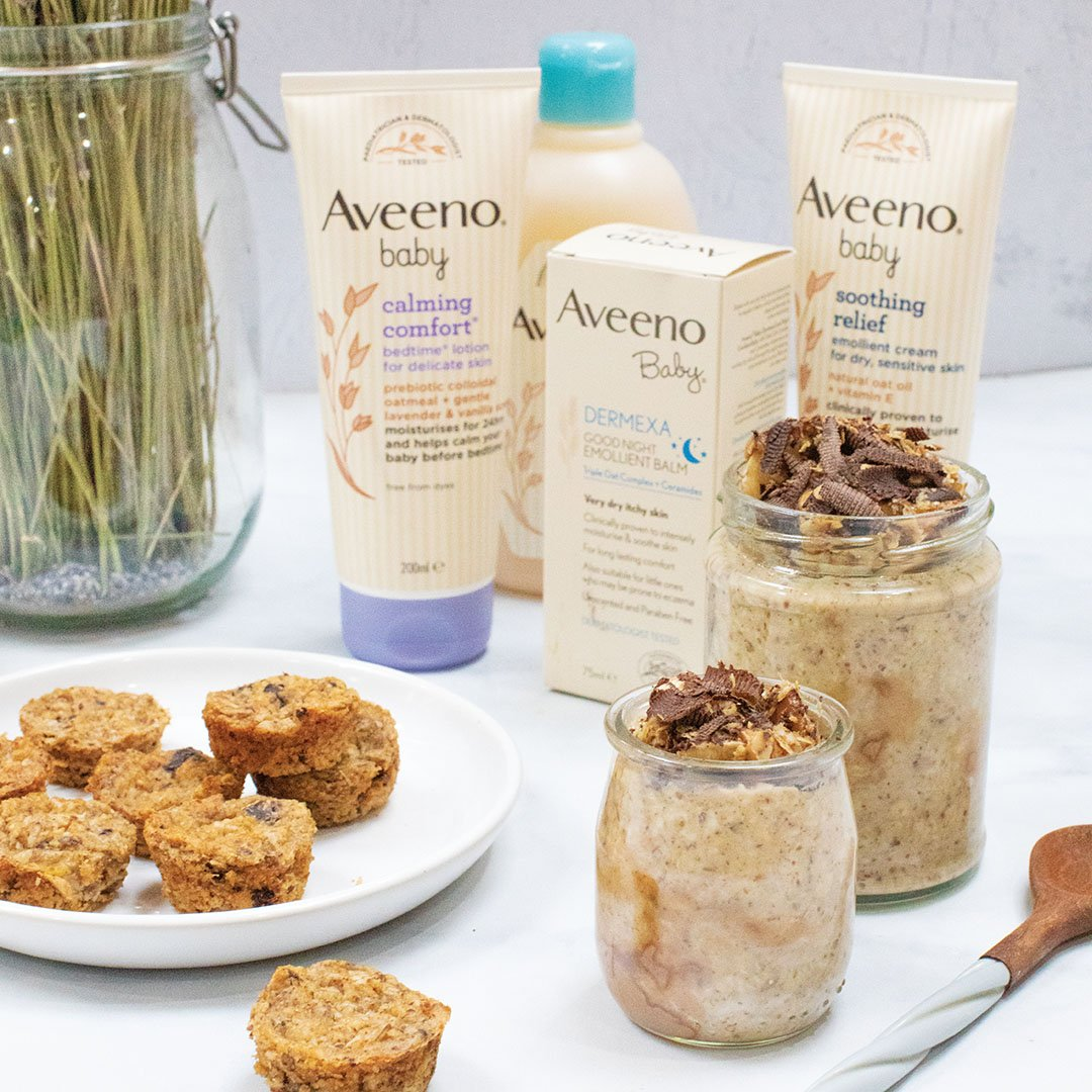 Overnight oats for baby led weaning with Aveeno Baby