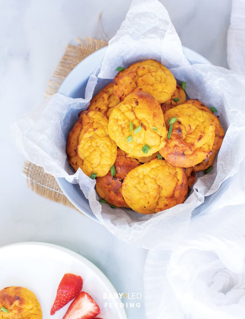 First Finger Foods for Baby Sweet Potato Cheesy Bites Easy finger food for baby