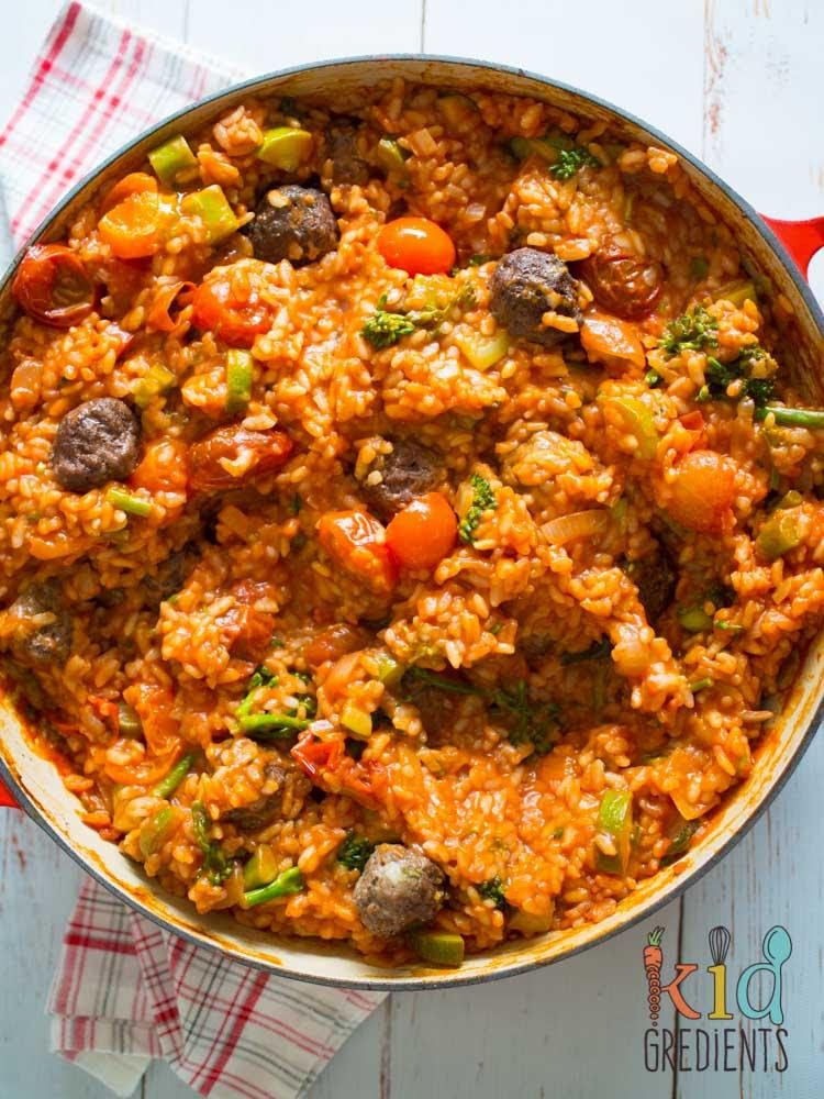 BAKED TOMATO AND MINI MEATBALL RISOTTO
